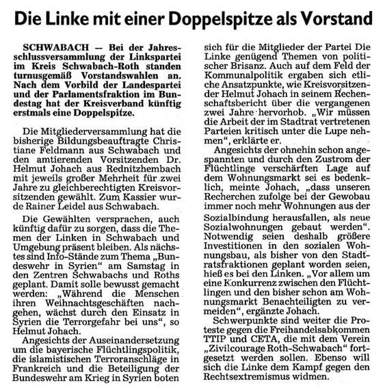 Artikel aus dem Schwabacher Tagblatt vom 18.12.2015, Verfasser: Robert Schmitt